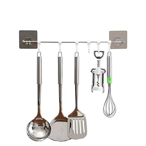 Barra Adhesivos de Cocina 6 Ganchos Barra de acero inoxidable Barra Organizador Estante de utensilios de cocina Impermeabilice Instalación Fácil No-rastro Sin Perforación