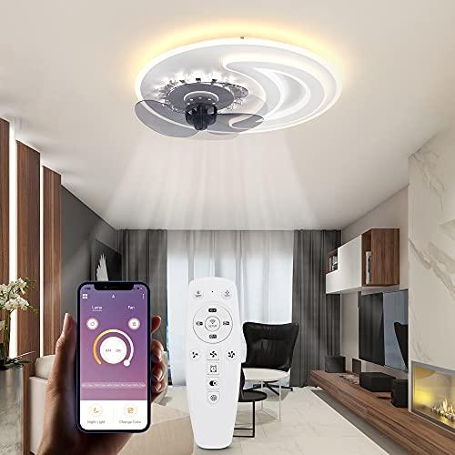 Wayrank Ventilatore da Soffitto con Luce e 3 Colori, Moderno Decorazione LED Plafoniera con Ventilatore con Telecomando e Controllo APP, Dimmerabile Lampadario Ventilatore per Cucina Soggiorno