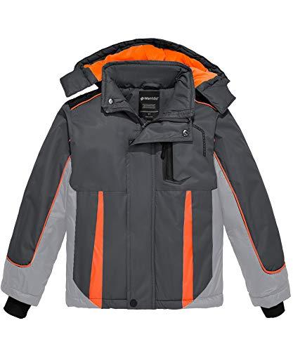 Wantdo Boy's Waterproof Ski Jacket Winter Fleece Coat Thick Windbreaker Grey 8