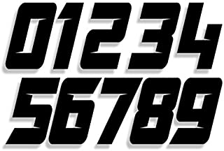 Mx & ATV Number Plate Decals | Set of 3 Decals With Your Custom Number & Color Choice | Sliced Font Style 6s
