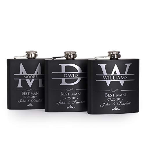 P Lab Set Of 3 - Groomsmen Gift - Groomsman Gifts For Wedding, Wedding Favor Customized Flask Set w Optional Gift Box - Engraved 6oz Stainless Steel Flask Custom Personalized Flask Gift Set, Black #2