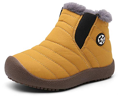 Gaatpot Kinder Winterschuhe Jungen Mädchen Schneestiefel Wasserdicht Warm gefütterte Schlupfstiefel Winter Stiefel Sneaker Schuhe Gelb 28.5 EU/29 CN