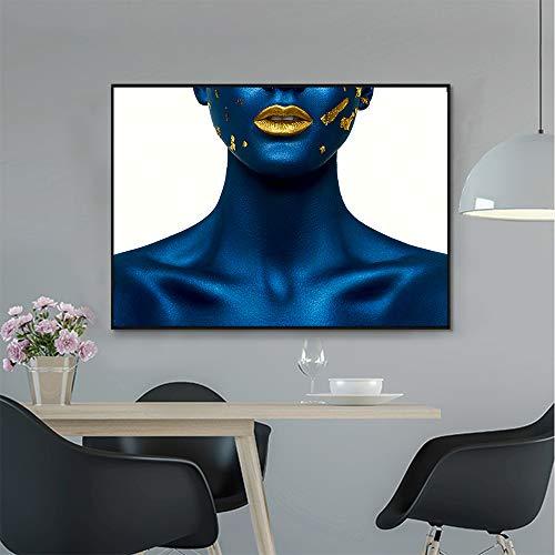 ganlanshu Arte de la Pared sobre Lienzo de Imagen de la Cara de Oro Azul de la decoración del hogar de la Sala de Estar,Pintura sin Marco,50X75cm