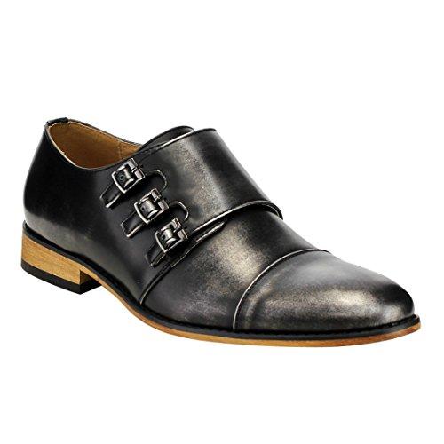 UV SIGNATURE EA27 Men's Chic Cap Toe Monk Strap Dress Shoes Run Half Size Big, Color:GREY, Size:9