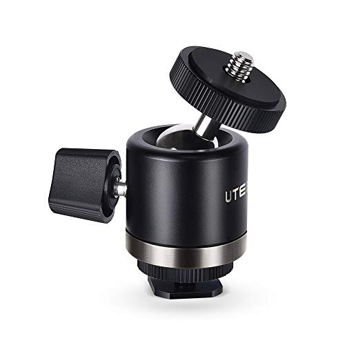 UTEBIT Tripod Head 360 Degree Swivel Mini Ball Head MAX. Load 2kg Bracket Holder with Lock and Hot Shoe Adapter Compatible for Camera/Camcorders/LED Light