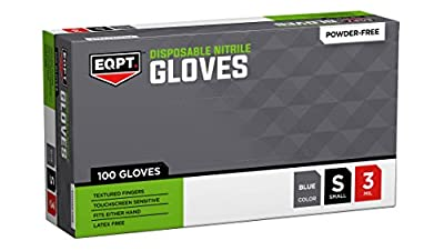 EQPT. Disposable Nitrile Gloves, Powder Free, Blue, Box of 100, Available in Sizes Small through X-Large