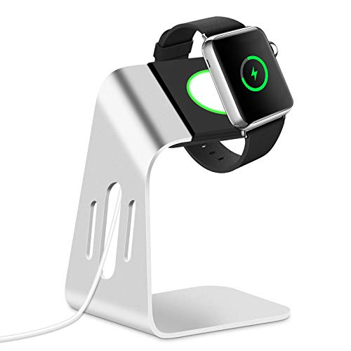 DIANOU Ladestation für Apple Watch, Charging Dock Station Ständer, Halterung Ständer kompatibel mit Apple Watch Series SE, iWatch Series 6/5/4/3/2/1, 44mm /42mm/40mm/38mm Silber