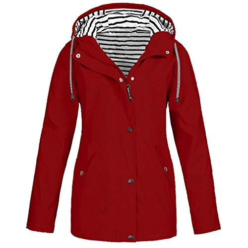 FORUU Women's Windbreaker Plus Size,2019 Ladies Autumn Winter Coat Casual Simple Solid Front Zip Fastening Outdoor Rain Jackets Pockets Hooded Raincoat Windproof Coat Trench Coat