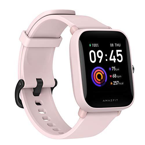 """Amazfit Bip U Smartwatch Fitness Reloj Inteligente 60+ Modos Deportivos 1.43"""" Pantalla táctil a Color Grande 5 ATM (SpO2) Oxígeno en Sangre Frecuencia Cardíaca (Rosa)"""