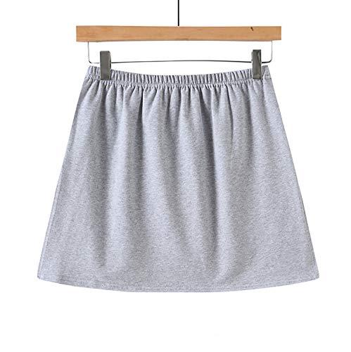 minjiSF Enagua extraíble para mujer, monocolor, elástica, cintura alta, línea A, mini enaguas falsas, dobladillo irregular, falda corta gris XL