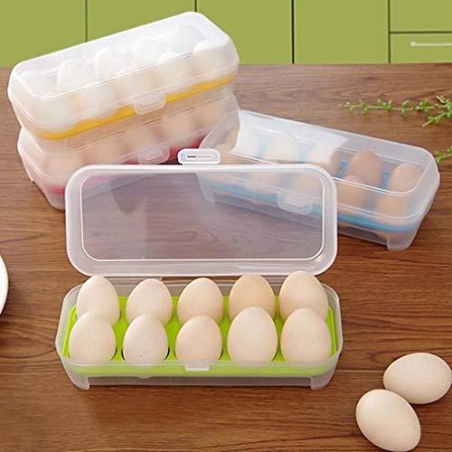 Weisin Eierablage für Kühlschrank Großer Eierhalter aus Kunststoff Eierbehälter mit Deckel für 10 Eier,Grün