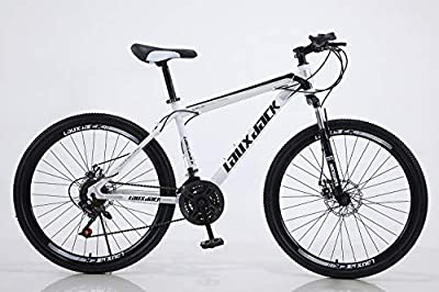HIRUNS Full Mountain Bike,Mens and Womens Professional 21 Speed Gears 26in Bicycle, Twist Shift, Black and White