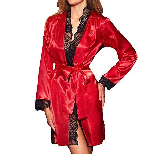 Hirolan Bademantel Frau Sexy Lingerie Lange Die Seide Kimono Dressing Kleid Puppe Dessous Babydoll Spitze Nachtwäsche Kleid Chic Unterwäsche Erotische Bath Robe (Rot, S)