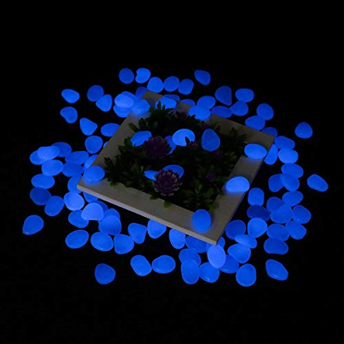 Tvird Piedras Decorativas Guijarros,Piedras Luminosas Piedras 300Pcs Decorativas Jardin Acuario Stones Glow Pebbles para Estanques, Acera, Maceta,Jardín, Exteriores, Lawn,Acuarios etc. (Azul)