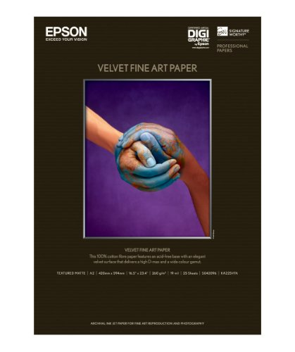 Epson C13S042096 Velvet Fine Art papier Inkjet 260 g/m2 A2, 25 vel Pack