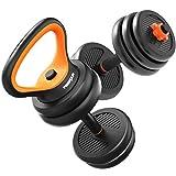 AKT Multifuncional Mancuerna como Barra/Kettlebell/Push-up Support Pesas para el Hogar Ajustables en Peso Equipo de Entrenamiento Brazo de Entrenamiento Muscle Fitness, Negro,10kg