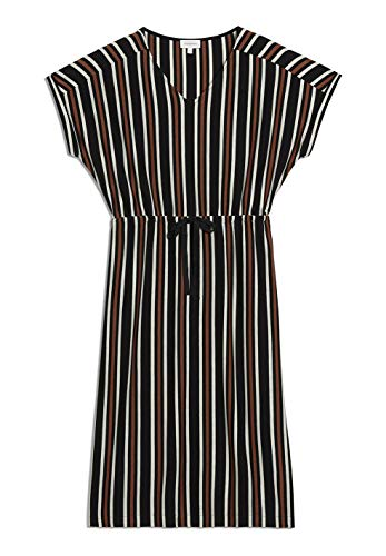ARMEDANGELS CARMELAA Multistripe - Damen Kleid aus Tencel™ Lyocell Mix M Black-Sandshell Dresses Jersey, Kleider Jersey V-Neck Relaxed Fit