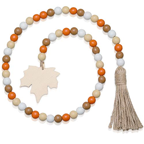 Halloween Wooden Bead Garland Wreath with Tassel, Decorated with Maple Leaves and Pumpkin Beads for Halloween Thanksgiving Fall Harvest Party Farmhouse Wall Hanging Decorations