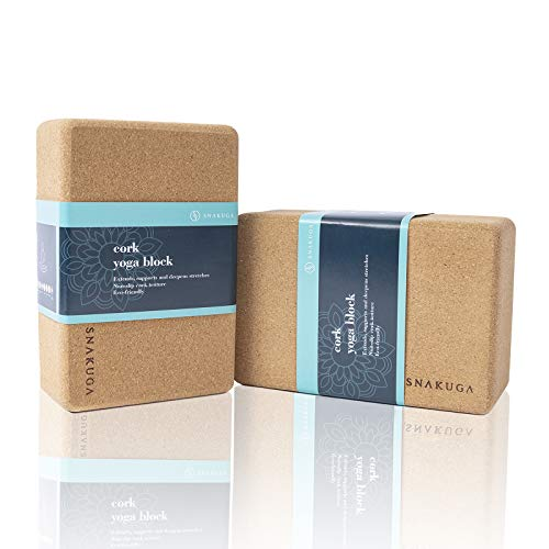 SNΛKUGΛ Cork Yoga Block (2 Pack, 9 x 6 x 4 Inch) Premium Yoga Blocks Natural Cork Yoga Brick