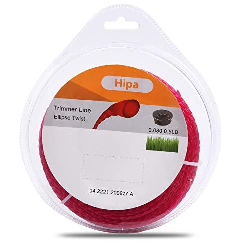 1/2 lb .80 pulgadas Twist Trimmer Line 2.0 mm Trimmer Line Rojo, compatible con cortadoras de gas y eléctricas, incluyendo: Husq-varna, Ryobi, Echo, STHIL, Weed Eater, Craftsman Black y Decker Bruch Cutter