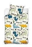 Carbotex Biancheria da letto per bambini, 100 x 135 cm, 40 x 60 cm, con dinosauri – Biancheria da letto reversibile per ragazzi – Federa e copripiumino in 100% cotone – Nuova collezione per bambini