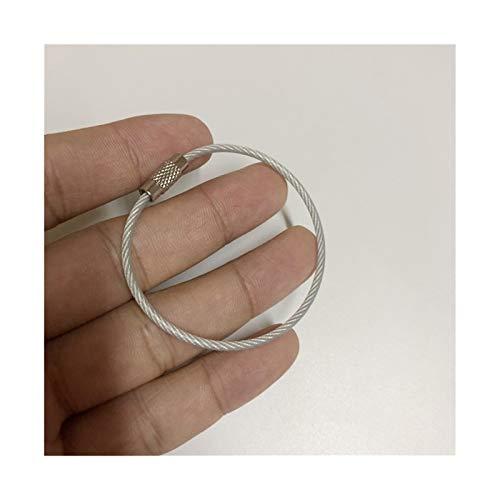 HMYDZ 1piece Metall-Schlüsselanhänger Split Ringe Drahtseil im Freien Werkzeug Farben Kunststoff Schutz Unisex-Schlüsselring Keyfob Zubehör (Color : Silver)