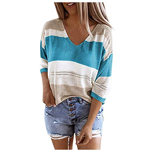 Women Off Shoulder Sweater V-Neck Pullover Blouse Color Block Knit Stitching Mid-Sleeved Tops E-Scenery Blue