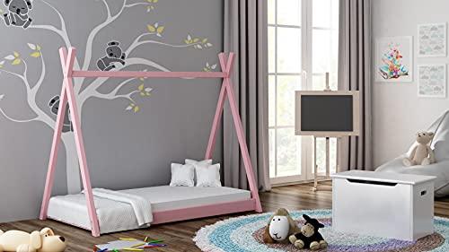 Children's Beds Home Letto Singolo a baldacchino in Legno massello - Titus Tepee Style for Kids Bambini Toddler Junior - Nessun Materasso Incluso (140x70, Rosa)