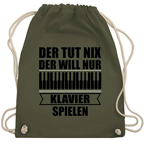 Shirtracer Instrumente - Der tut nix der will nur Klavier spielen - schwarz - Unisize - Olivgrün - Spruch - WM110 - Turnbeutel und Stoffbeutel aus Baumwolle