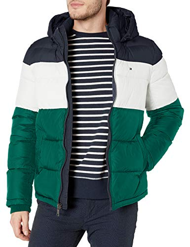 Tommy Hilfiger Men's Classic Hooded Puffer Jacket (Regular and Big & Tall Sizes), Green Combo, Large