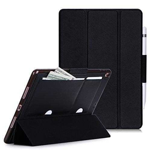 iPad Pro 10.5 ケース iPad 10.5 ケース ipad pro 10.5 カバー,Fyy PUレザーケース 薄型 軽量 三つ折りスタンド機能 オートスリープ機能対応 長いタッチペンホルダー カードポケット付き スマートカバー (ブラック)