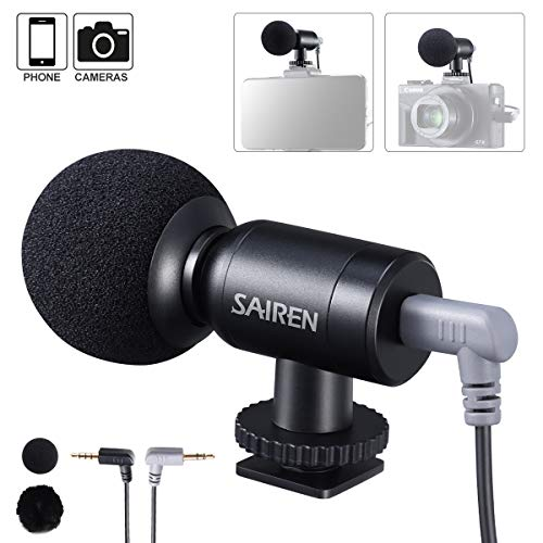 SAIREN Universal Video Microphone, Professional On Camera Mic Mini Super Cardioid Condenser for iPhone, Smartphone, GoPro/Canon/Nikon/Sony DSLR Camcorders, YouTube Vlogging Podcast Recording