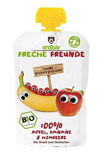 erdbär Freche Freunde - 100% Banane, Apfel & Himbeere BIO - 100 g - 6er Pack