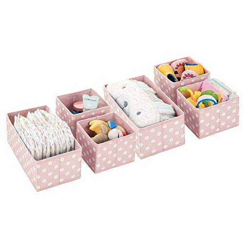 mDesign Soft Fabric Dresser Drawer, Closet Storage Organizers for Child/Kids Room, Nursery, Playroom - Holds Boys, Girls, Baby Clothes, Onsies, Diapers, Wipes - Polka Dot Print, Set of 6 - Pink/White