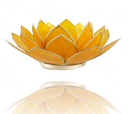 Trimontium TL12003S Teelichthalter in Form Einer dreiblättrigen Lotusblüte, Durchmesser Circa 14 cm, Capiz-Muschel, Info, Aluminium, Gelb, ca. 14 x 14 x 5 cm