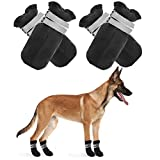 PUPTECK Dog Boots for Paw Waterproof - 4pcs Anti-Slip Dog Shoes with Reflective Straps for Medium and Large Dogs, Dog Boots for Injured Paws