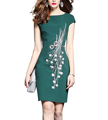 Women's Cap Sleeve Embellished Flower Bodycon Cocktail Formal Party Mini Dress