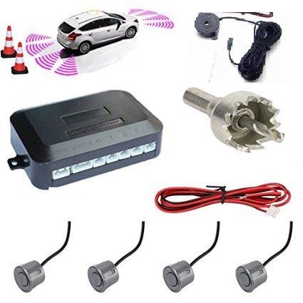 Einparkhilfe-Set à 4 Sensoren für PKW, Transporter, Camper, grau, lackierbar, Anleitung in italienischer Sprache, mit akustischem Signal