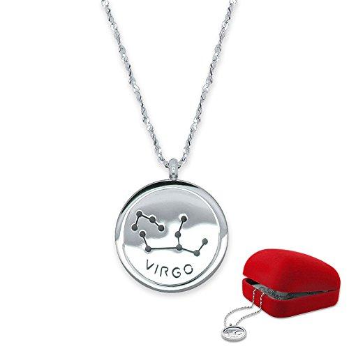 SoulCats® Sternzeichen Halskette 50cm aus Edelstahl in Silber mit Geschenkverpackung. Horoskop Tierkreiszeichen Sternenbild Zodiac, Sternzeichen:Waage
