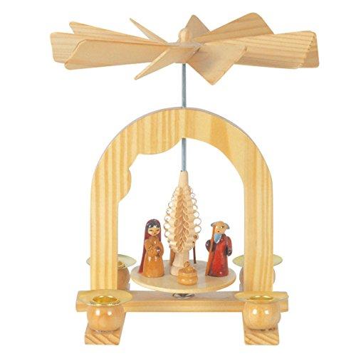 Kleine Weihnachts-Pyramide Krippenszene, H: 15 cm, natur, handbemalt im Erzgebirgestil
