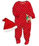 My First Christmas Newborn Baby Girl Clothes Baby Boy Clothes Cute Baby Rompers Pajamas Christmas + Hat 2PCS Outfit Set 6-12 Months