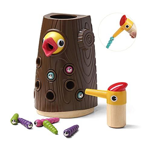 Fijne motorvaardigheden speelgoed voor 2 3 jaar ouderen meisjes en jongens geschenken-speelgoed magnetisch spel, sensorisch, voeding, voorschoolse leerspeelgoed-hongerige specht speelgoed
