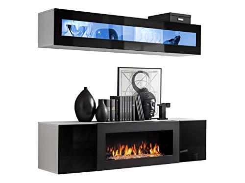 Moderne Wohnwand mit Kamin Bioethanol Flyer N2, Elegante Anbauwand mit Kamineinsatz, Schrankwand, Wohnzimmer-Set, TV-Lowboard, Vitrine (Weiß/Schwarz Hochglanz)