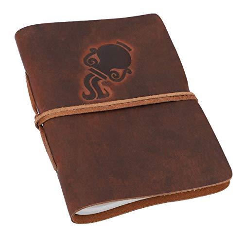 Gusti Notitieboek leer - dagboek reisdagboek Bullet Journal schetsboek ongelinieerd klassiek leer DIN A5 bruin sterrenbeeld waterman