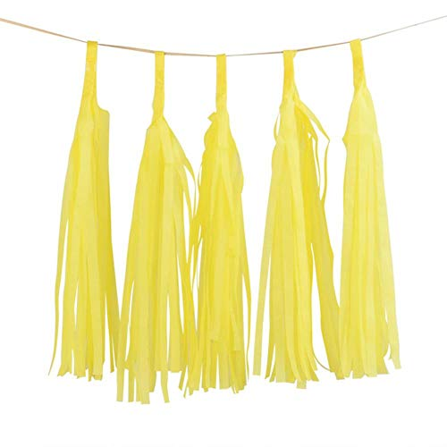 Paper Decorations 5Pcs 14Inch Gold Silver Tissue Paper Tassel Christmas Decoration Birthday DIY Hanging Garland Wedding Event Party Supplies,Light Yellow