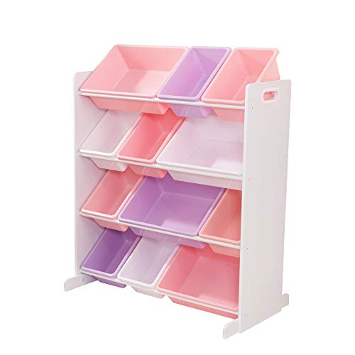 KidKraft 15450 Sort It & Store It Organiseur de jouets 12 bacs Couleurs pastel et blanc Meuble pour salle de jeux/chambre d'enfant