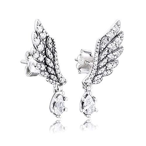 BAKCCI Pendientes de tuerca de plata 925 con alas de ángel de invierno para mujer, se adapta a pulseras Pandora originales