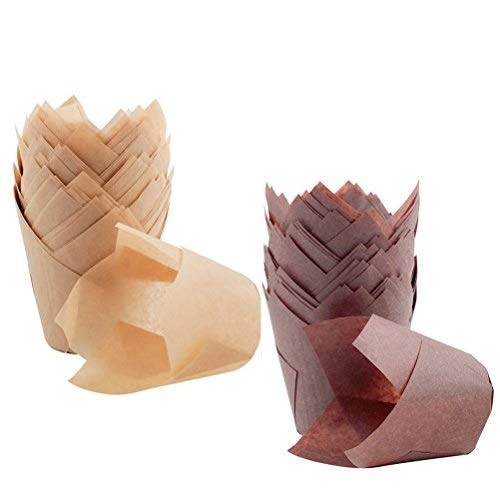 200 Pcs Tulip Cupcake Liners, Cooyeah Baking Cup Holder Muffin Paper Liners Grease-Proof Wrappers for Wedding, Birthday Party (Brown and Natural Color)