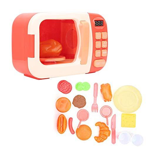 Juguete de Horno de microondas con luz, con Alimentos Falsos incluidos Juego de microondas de Cocina Toy Kitchen Juegos de simulación para niños pequeños