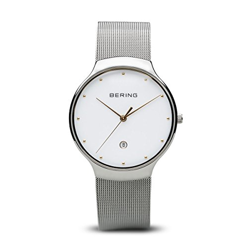 BERING Unisex Erwachsene Analog Quarz Uhr mit Edelstahl Armband 13338-001